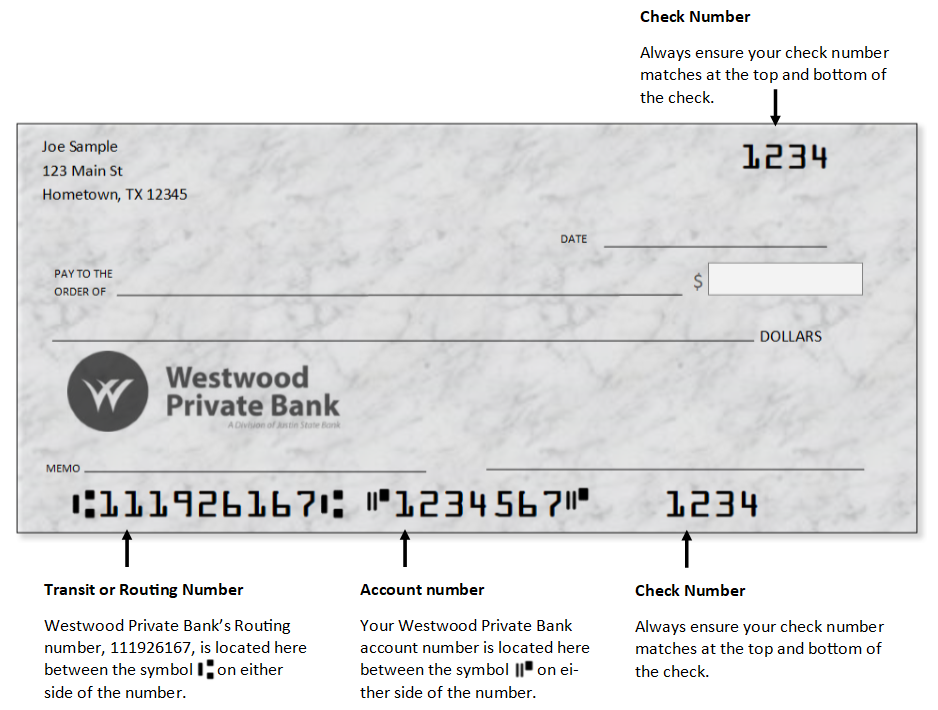 Westwood Private Bank check with routing number 111926167